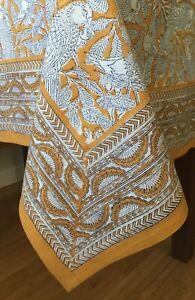 "Anokhi Yellow Parrot Cotton Tablecloth, 69"" x 69"""