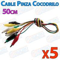 5x Cables 50cm con PINZAS COCODRILO varios colores aislado clip test