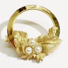 broche bijou vintage couleur or signé SARAH COV cercle déco relief perle * 3215