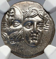 ISTROS Thrace Authentic Ancient 400BC Silver Greek Coin GEMINI TWINS NGC i82637