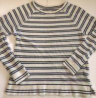 Ann Taylor Loft Womens Size XS White Blue Sweater Striped Stretch Scoop Neck EUC