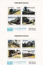 Train stamps Australia 1992 THIRLMERE railways pair of mini sheets TAIPEI 93