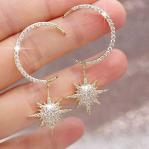 Fashion Drop Stud Gold Earrings Women White Sapphire Star Jewelry Gift