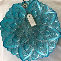 "ABSOLUTELY BEAUTIFUL ARTISTIC ACCENTS 13"" Teal Turkish Glass Centerpiece Bowl"