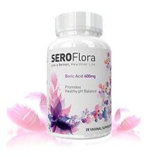 Boric Acid Vaginal Suppositories SEROFlora 600mg 28 counts - pH Balance for W...