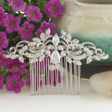 Bridal Bridesmaid Clear Cubic Zirconia Austrian Hair Comb Accessories Silver GP