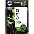 2-PACK HP GENUINE 63 Black & Tri-Color Ink (RETAIL BOX) OFFICEJET 4650 4652 4655