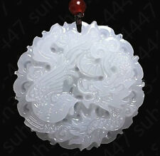 Natural White Jade Dragon Phoenix Pendant Necklace Fashion Charm Jewelry Amulet