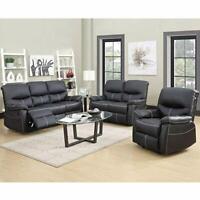 Contemporary Bonded Leather 3-Piece Aldo Modern Sofa Set - Black Chair