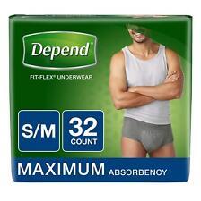 Depend Fit-Flex Incontinence Underwear For Men, Maximum Absorbency, S/M, Gray (P