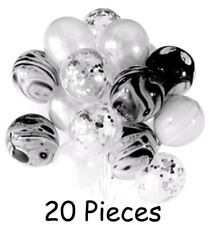 Silver Black Marble Confetti Helium Balloons Set (20pcs) Anniversary Wedding