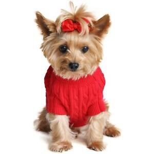 Doggie Design Red Combed Cotton Cable Knit Dog Sweater XXS-3XL
