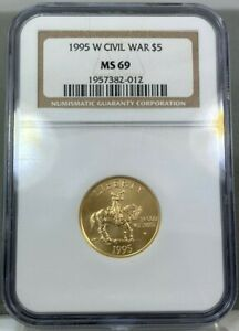 1995 W $5 Gold Civil War Commemorative Coin NGC MS69