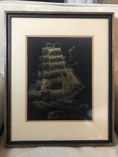 "Clipper Ship 24K Gold Etching on Foil by Paul M Breeden 1979 15.5""x12"" Art  Rare"