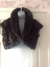 CHOCOLATE BROWN FAUX FUR BOLERO GILET SIZE 16 PARTY XMAS