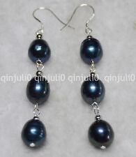 10-11 mm TAHITIAN Real Black Cultured Pearl rokymoter earring silver Hook je51