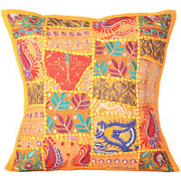Cushion Cover Patchwork Pillow Indian Handmade Case Cowhide Decor Throw Sofa 16""