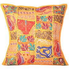 "Cushion Cover Patchwork Pillow Indian Handmade Case Cowhide Decor Throw Sofa 16"""