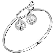Woman Gorgeous Lucky Ball Design Sterling Silver Plated SilverBangle Bracelet