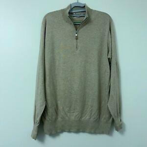 Peter Millar Oatmeal Cotton Silk Blend 1/4 Zip Pullover Sweater Men's Size M