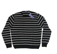 $750 Ralph Lauren Purple Label Mens Italy Striped Crewneck Light Wool Sweater