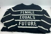 """H&M Women's Divided Size L Sweater Black & White """"Female"""" Long Sleeve Top"""