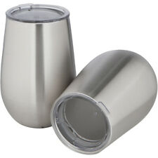 Set of 2 Pack 12oz Stainless Steel Double Walled Insulated Stemless Wine Glasses