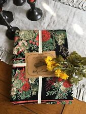 APRIL CORNELL STUNNING BLACK WITH ROSES  NEW TABLECLOTH 60 X 104