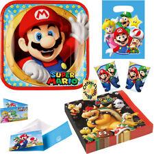 Super Mario Party-Set 84tlg Teller Becher Servietten Tüten Einladung für 16 Kids
