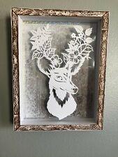 WALL ART, HANDMADE DOUBLE FRAMED SILHOUETTE ART COORDINATING BACKGROUND DETAIL