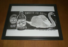 EMIL SICK'S SELECT BEER SMOOTH AS SATIN FRAMED B&W AD PRINT