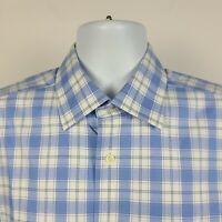David Donahue White Blue Plaid Check Mens Dress Button Shirt Size 16.5 34/35