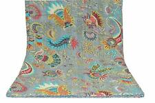 Indian Mukut Print King Size Kantha Quilt Blanket Bed Cover Kantha bedspread