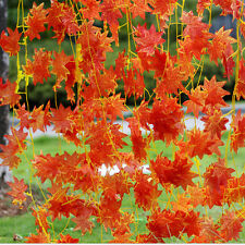 Artificial Red Autumn Maple Leaf Garland Vine For Wedding Party Home Decor tri