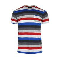 Men's Classic Striped Short Sleeve Crew Neck Pocket Tee T-shirt Grey Red