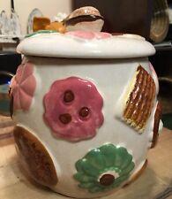 Vintage Cookies All Over Cookie Jar Japan Walnut 4 Cookie Top NAPCO