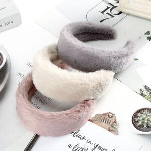 Elegant Ladies Wide Headband Hairband Faux Fur Alice Hair Band Hoop Accessories