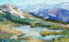 Tim Diebler Untitled Mountain Lake Signed Framed Original Oil Painting on Board