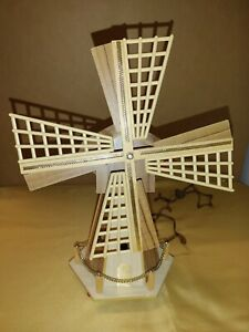 """Vintage 14"""" Dutch Wood Windmill Night Light Lamp Light Up Made in Holland"""