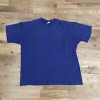 Vintage 90's Gap Basic Blank Purple Pocket T-Shirt Large Made USA Single Stitch