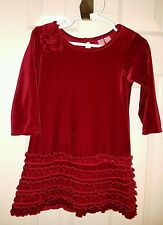 Hype Baby Girls Size 24 Months Red Velour Ruffle  Holiday Christmas Party Dress