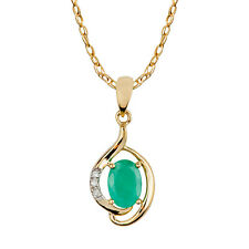 10k Yellow Gold Genuine Oval Emerald and Diamond Pendant Necklace