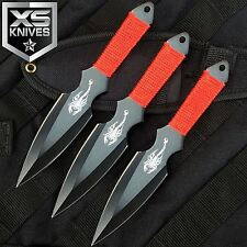 "3pc Set 6.5"" Scorpion Red/Black Ninja Throwing Knife Dagger W/ Sheath"