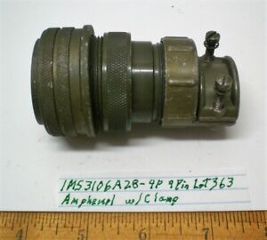 1 MS3106A28-4P Military Plug w/ Clamp Size 28, AMPHENOL, Lot 363, Made in USA