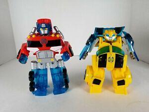 Transormers Rescue Bots Energize Playskool Bumblebee Optimus Prime Lot Of 2