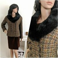 Vintage 60s Fur Collar Boucle Wool Fitted Jacket Coat Chic 50s 10 12 38 40