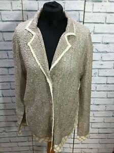 Vintage Womens Ivory Crinkle Party Evening Cruise Jacket  UK 16