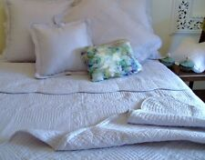 6 pc. blue embroidered quilt, bedspread, duvet, coverlet in King Queen & Double