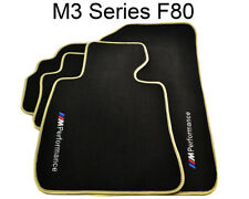 BMW M3 Series F80 Black Floor Mats Beige Rounds With //M Performance Logo Clips