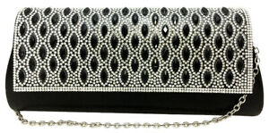 Structured Women's clutch bag rounded diamante bridal handbag black gold silver